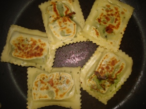 Ravioli cooked in the pan
