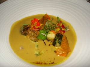 Summer squashes with puree of squash and Indian inspired flavors