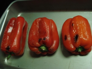 Peppers just after being roasted